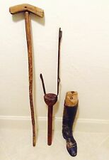 4-pc CIVIL WAR SOLDIER HANDMADE CRUTCH,WOOD PEG LEG w/ IRON BRACES-OFFICER BOOT