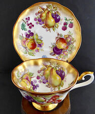 Royal Albert Fruits Berries Avon Wide Tea Cup Saucer Heavy Gold Footed England