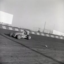 Action Shot of Car on Dirt Track - 1960s USAC ?? - Vintage B&W 120mm Race Slide