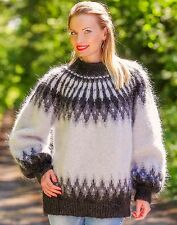 Hand knitted Icelandic sweater BLACK GREY fuzzy mohair Noridc jumper SUPERTANYA