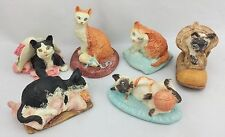 Vintage 1993 JC Miniature Cat Resin Figurine 6pc LOT - Siamese and Tabby Felines