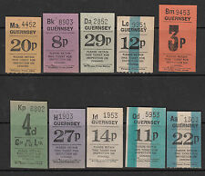 Guernsey 1970's Bus Tickets selection of 10 values