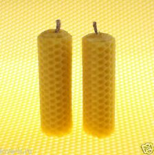 "Lot of 2 THICK BeesWax Candles 3,5"" Honeycomb HANDROLLED 100% Pure Sweet Wax [M]"