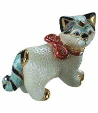 DeRosa Rinconada Cat with Ribbon NIB #116 De Rosa Ceramic Figurine NEW IN BOX
