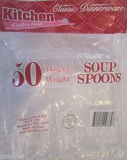 Kitchen Collection 50 Heavy Weight Clear Soup Spoons For Dinner or party 2268