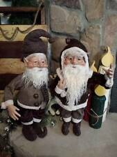 "Set 2 NWT 20"" Santa's Elves ELF Christmas Display Prop Figure Doll Brown Clothes"