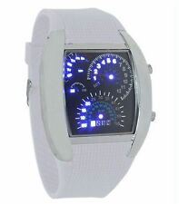 Quality White Binary Wrist Watch Digital Car Dash Board Theme LED Sport UK SLR
