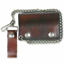 "Antique Brown 4"" Soft Leather Biker Motorcycle New WALLET & CHAIN Biker WAL-0031"