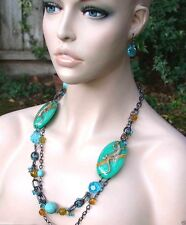 "Multistrand 30"" Necklace & Earrings Set, Turquoise Blue Acrylic, Golden Lizard"