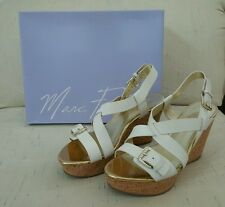 Marc Fisher -  White wedge sandal - gold accents - leather - Size 8