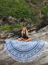 "72"" Round Mandala Indian Bohemian parrot Tapestry Beach Picnic Throw Towel Rug"
