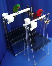 """Parrot PORTABLE FLOOR STAND H36""""-W24"""" ez-clean lift-off tray 2 cups double toy"""