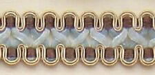 Scroll Gimp 7/8 inch wide by 3 yard Silver Blue, Chocolate, Gold  (NG341-A10)