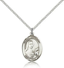 Saint Therese Of Lisieux Medal For Women - .925 Sterling Silver Necklace On 1...
