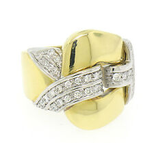 18k Solid Yellow Gold Buckle Style FINE VS F Pave Diamond Wide Cocktail Ring