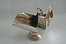 Antique Vtg Silver Plate Engraved Coal Scuttle Sugar Bowl & Scoop EPBM England