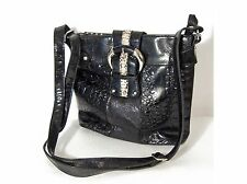 NWOT MC Marc Chantal Black Patent Leather Handbag Purse, Embossed Croc & Snake