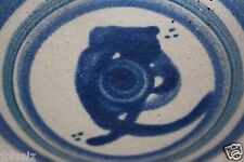 """Plate Hand Thrown Pottery  Blue glaze Design resembles Owl 5.25"""", footed"""