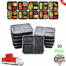50 Meal Prep Containers Food Storage 3 Compartment Plastic Reusable Microwavable