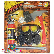 Childs Fireman Fire Fighter Fancy Dress Costume Prop Accessory Set