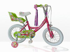 "CONCEPT LITTLE CUTIE GIRLS 12"" WHEEL BIKE PINK WITH DOLLY SEAT & STABILISERS"