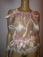 "PINK  ORGANZA  CAMISOLE  TOP WHITE LACE TRIM  35-55"" Bust  SATIN BOWS"