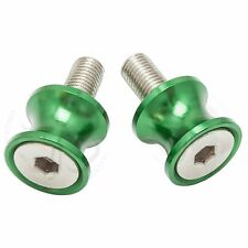 Green Kawasaki Mini Swingarm Spools Sliders 10mm Bolts Ninja ZX 6R 9R 10R 14R RR