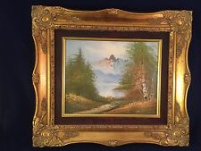 VINTAGE LARGE ORNATE PICTURE FRAME OIL PAINTING MOUNTAINSCAPE WOOD GOLD TONE