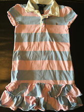 girls RALPH LAUREN COLLARED DRESS polo striped COTTON school PINK BLUE size 6