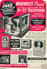 "1953 Print Ad of Midwest Radio & Television 21"" & 27"" Console Table Models"