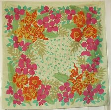 "TERRIART Mint Green, Pink, Yellow Flowers Thai SILK 34"" Square Scarf-Vintage"