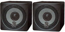 Pair New Pyle PCB3BK 3'' 100 Watt Black Mini Cube Bookshelf Speaker In Black