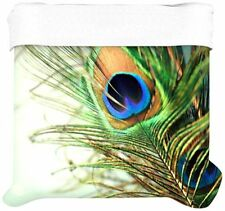 Kess InHouse 68 by 88-Inch Sylvia Cook Teal Peacock Feather Duvet Cover, Twin