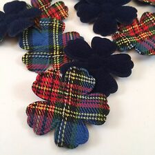 XL Padded Tartan Felt Flowers Scrap booking Card Making Crafting Invites x 10