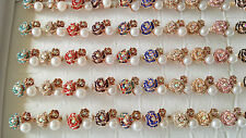 Job lot of 50 pcs Rose flower Diamante Fashion Rings - NEW Wholesale lot K1
