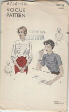 Vintage 40s Unused Blouse w Tucked Front Pattern B-30~Vogue 6736