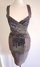 Herve Leger Embroidered Dress Dark Grey M