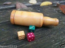 VINTAGE TREEN BOTTLE DICE SHAKER COLOURED MINIATURE DICE NOT WHISKY ADVERTISING