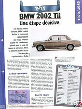 BMW 2002 Tii 4 Cyl. 1971 Germany Allemagne Car Auto Retro FICHE FRANCE