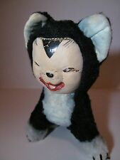 Antique Vintage c. 1940s Merrythought bear co. Black Mohair Toy Cheshire Cat
