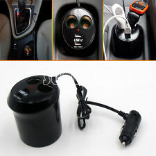 12V Car Cigarette Lighter Dual Socket Splitter 2 USB port charger Power Adapter