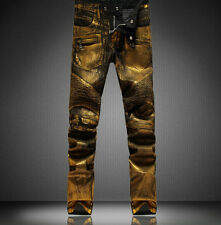 Mens Runway Golden Oil Coated Stretch Fashion Gold Pants Slim Biker Jeans 28-38