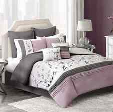 Blossom Comforter Set in Plum King Size Floral Bedding 8 Piece Alternative New