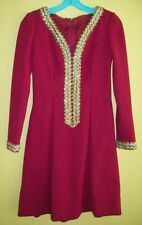 Vtg 70s? RED Dress / HALLOWEEN Costume S or XS GOLD Sequins SPARKLE Homemade