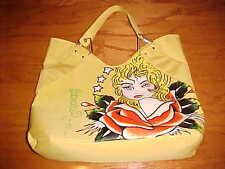 ED HARDY 1971 Vintage Yellow Painted Face Shopping Beach Travel Bag Totes Snap