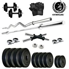 GYMSTER 35KG WEIGHT PLATES+ 4FT STRAIGHT ROD+ 3FT ZIGZAG ROD+GYM GLOVES