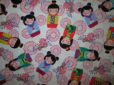 JAPANESE SAKURA DOLL DOLLS FLORAL WHITE COTTON FABRIC FQ