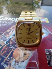 Omega men watch electronic f 300 geneve chronometer 12 j.  mov 1250 gold plated