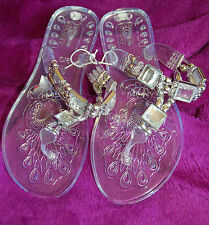NEW Sz 6 Transparent Jelly Thong Sandals Shoes Square mirror & silver Bead Strap