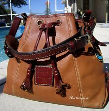 DOONEY & BOURKE BROWN DRAWSTRING LEATHER HOBO TOTE BAG PURSE